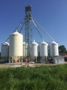 Six 4000 bu hopper bottom bins and one 8000 bu hopper