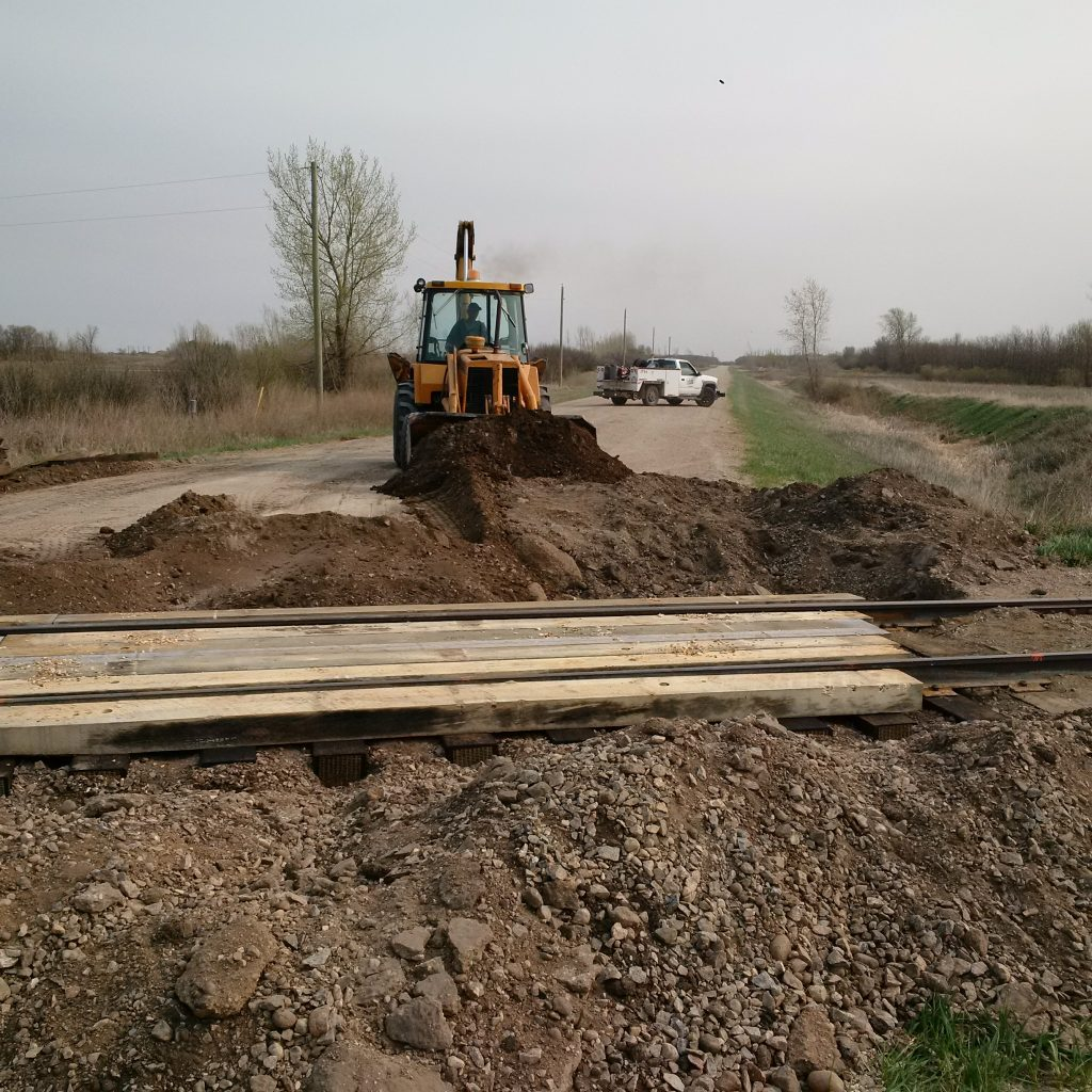 Track rehab project on Boundary Trail Railway Company
